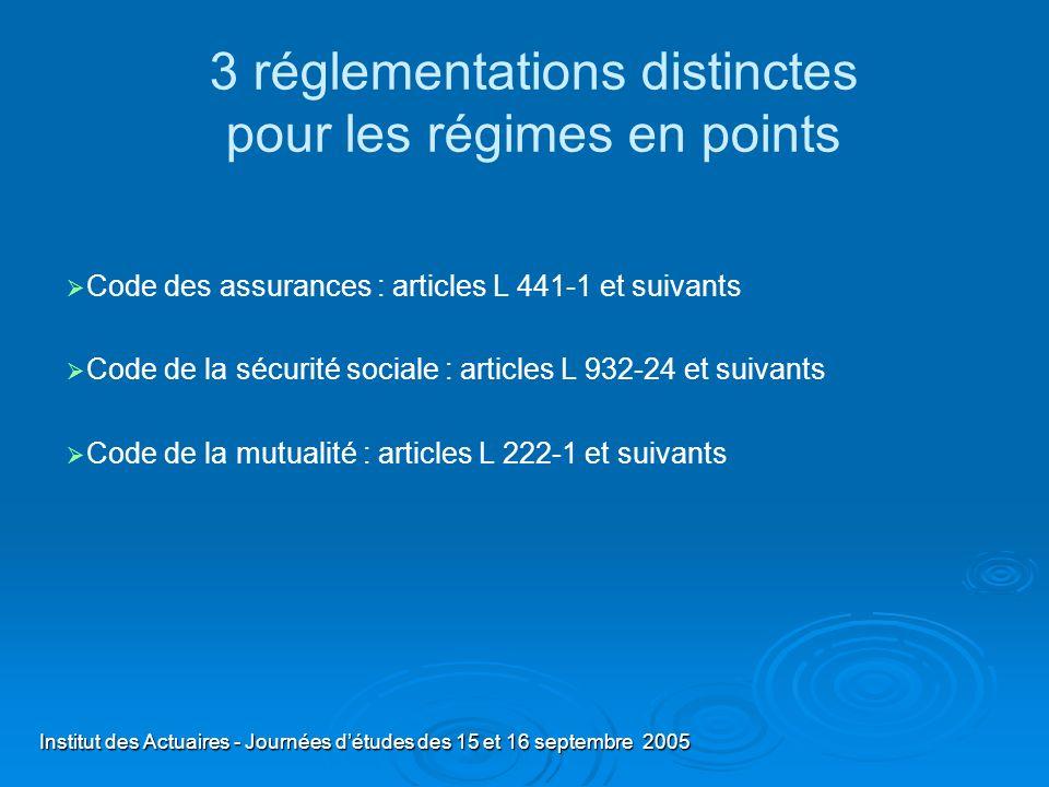 Institut des Actuaires - Journées détudes des 15 et 16 septembre 2005 3 réglementations distinctes pour les régimes en points Code des assurances : ar