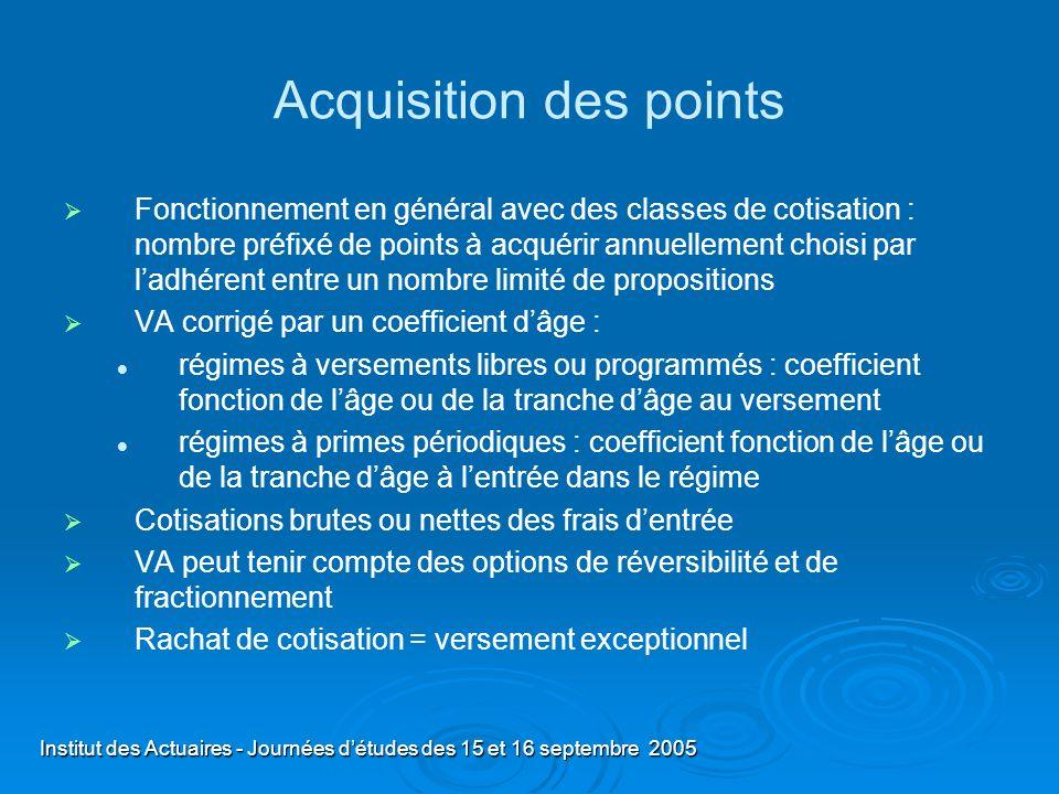Institut des Actuaires - Journées détudes des 15 et 16 septembre 2005 Acquisition des points Fonctionnement en général avec des classes de cotisation