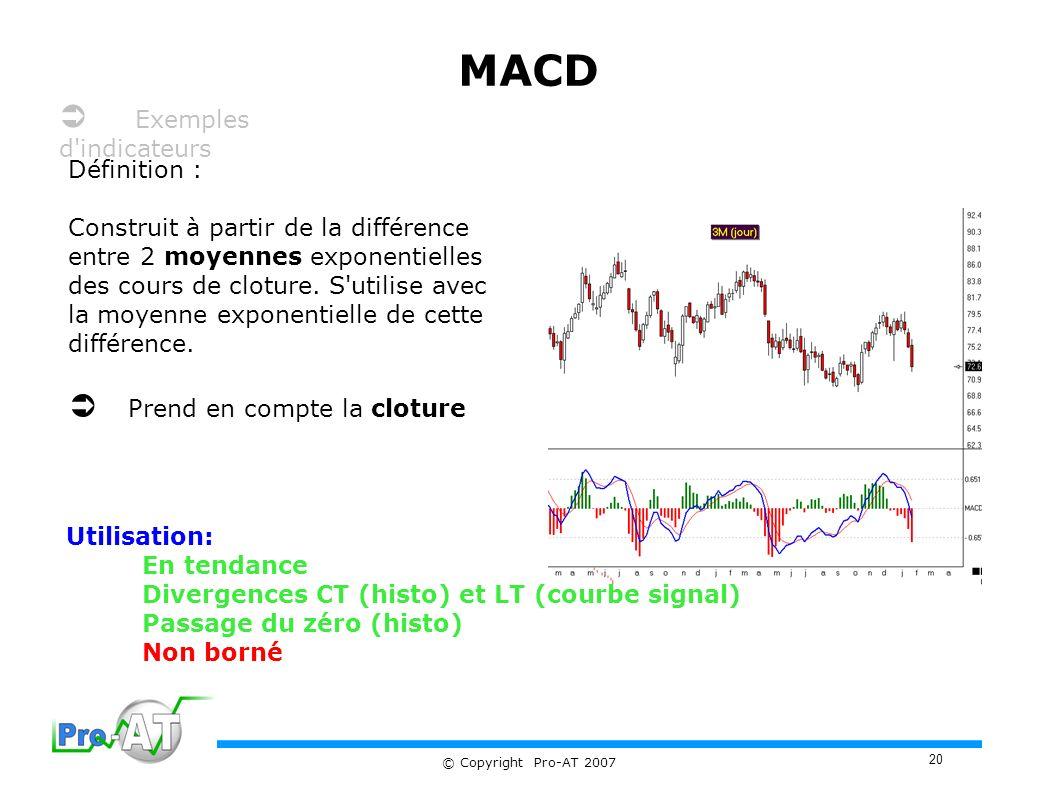 20 © Copyright Pro-AT 2007 MACD Définition : Construit à partir de la différence entre 2 moyennes exponentielles des cours de cloture.