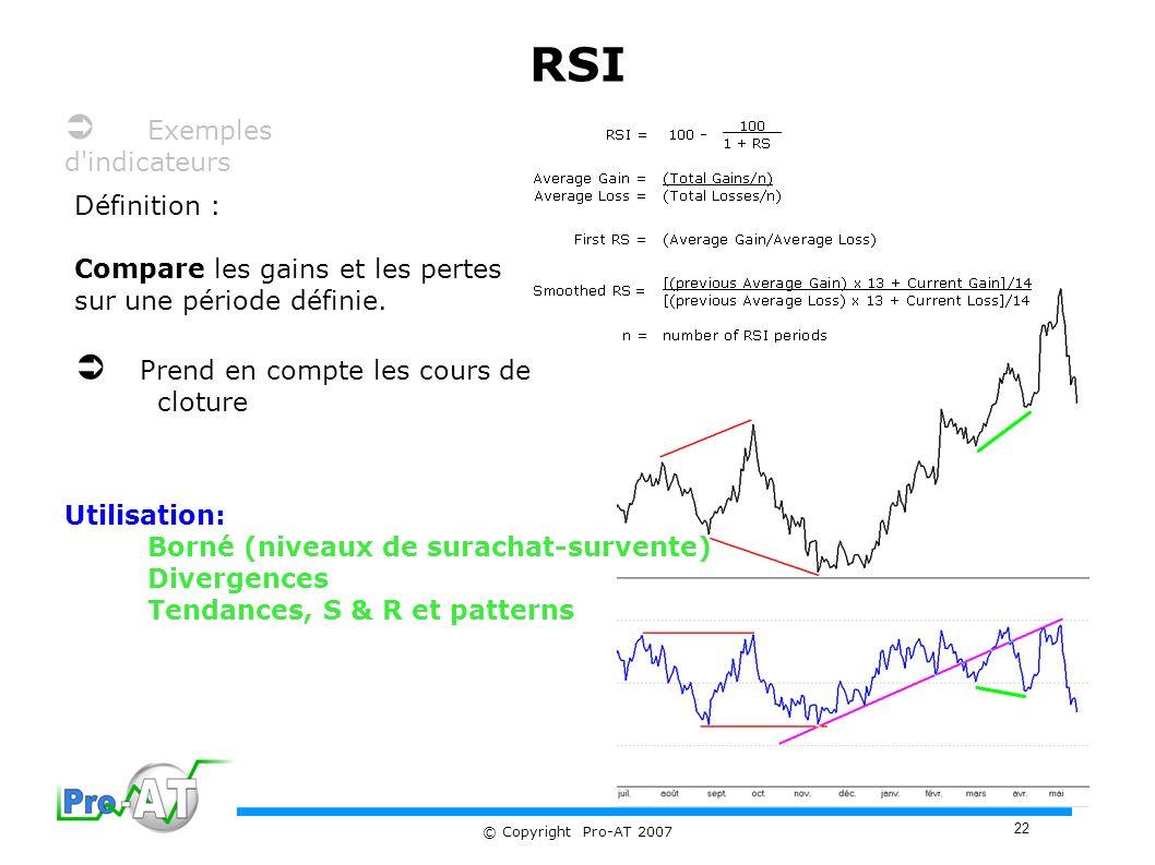 22 © Copyright Pro-AT 2007 RSI Définition : Compare les gains et les pertes sur une période définie.