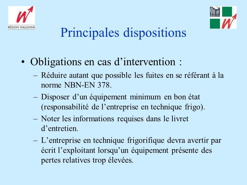 Principales dispositions Obligations en cas dintervention : –Réduire autant que possible les fuites en se référant à la norme NBN-EN 378. –Disposer du