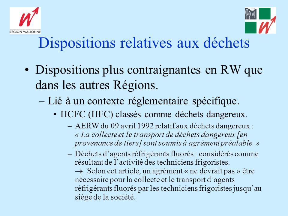Dispositions relatives aux déchets Dispositions plus contraignantes en RW que dans les autres Régions. –Lié à un contexte réglementaire spécifique. HC