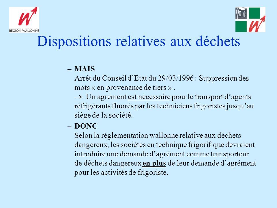 Dispositions relatives aux déchets –MAIS Arrêt du Conseil dEtat du 29/03/1996 : Suppression des mots « en provenance de tiers ». Un agrément est néces