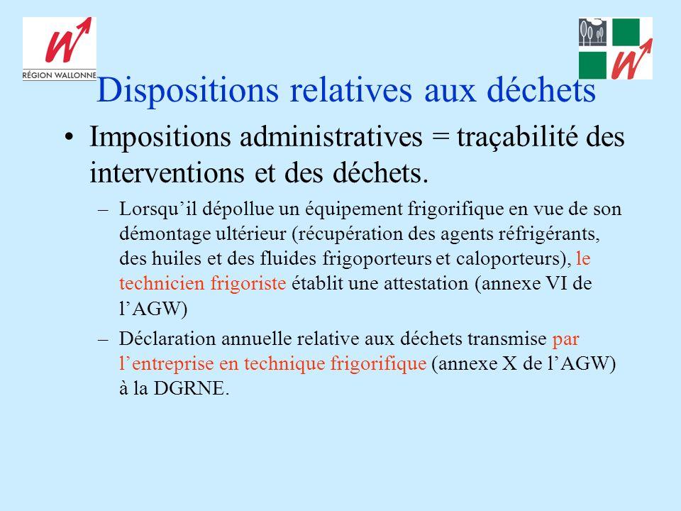 Dispositions relatives aux déchets Impositions administratives = traçabilité des interventions et des déchets. –Lorsquil dépollue un équipement frigor