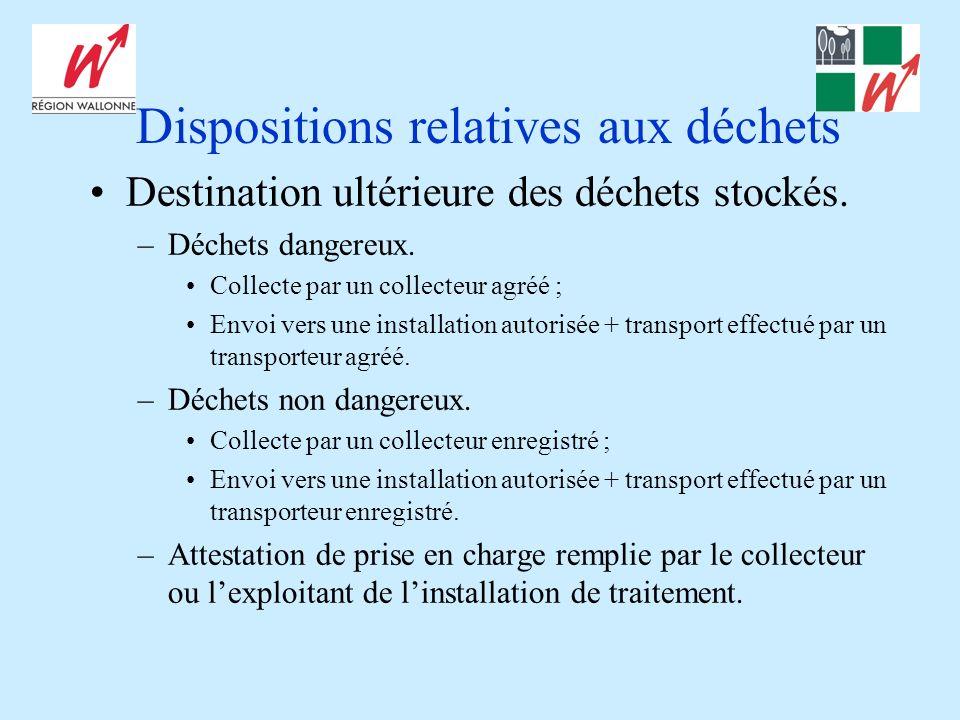 Dispositions relatives aux déchets Destination ultérieure des déchets stockés. –Déchets dangereux. Collecte par un collecteur agréé ; Envoi vers une i