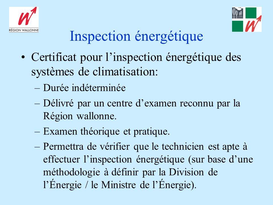 Inspection énergétique Certificat pour linspection énergétique des systèmes de climatisation: –Durée indéterminée –Délivré par un centre dexamen reconnu par la Région wallonne.