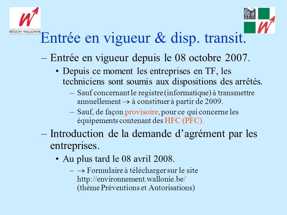 Entrée en vigueur & disp. transit. –Entrée en vigueur depuis le 08 octobre 2007. Depuis ce moment les entreprises en TF, les techniciens sont soumis a