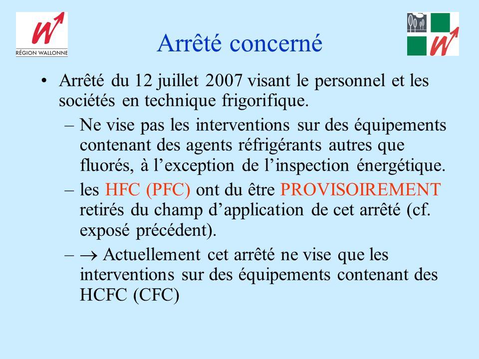 Arrêté concerné Arrêté du 12 juillet 2007 visant le personnel et les sociétés en technique frigorifique. –Ne vise pas les interventions sur des équipe
