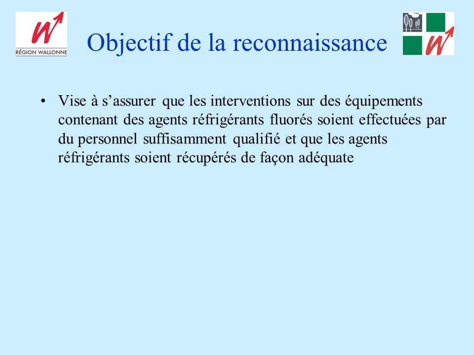 Objectif de la reconnaissance Vise à sassurer que les interventions sur des équipements contenant des agents réfrigérants fluorés soient effectuées par du personnel suffisamment qualifié et que les agents réfrigérants soient récupérés de façon adéquate