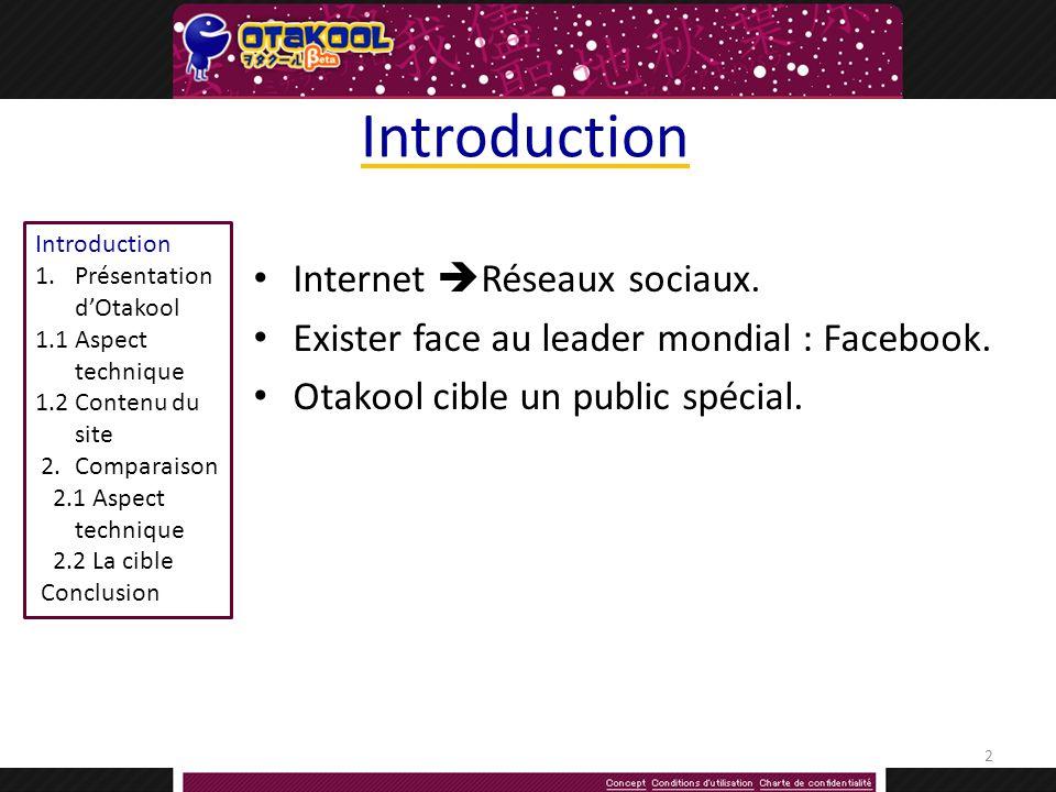 Introduction 1.Présentation dOtakool 1.1Aspect technique 1.2 Contenu du site 2.Comparaison 2.1 Aspect technique 2.2 La cible Conclusion Introduction Internet Réseaux sociaux.