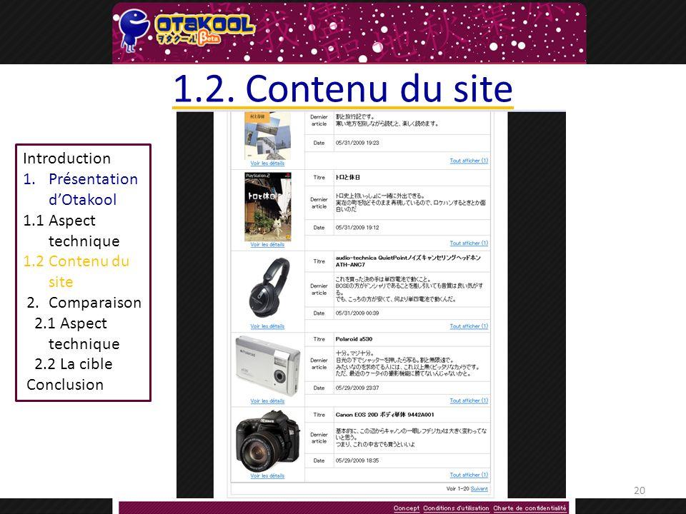 Introduction 1.Présentation dOtakool 1.1Aspect technique 1.2 Contenu du site 2.Comparaison 2.1 Aspect technique 2.2 La cible Conclusion 1.2.
