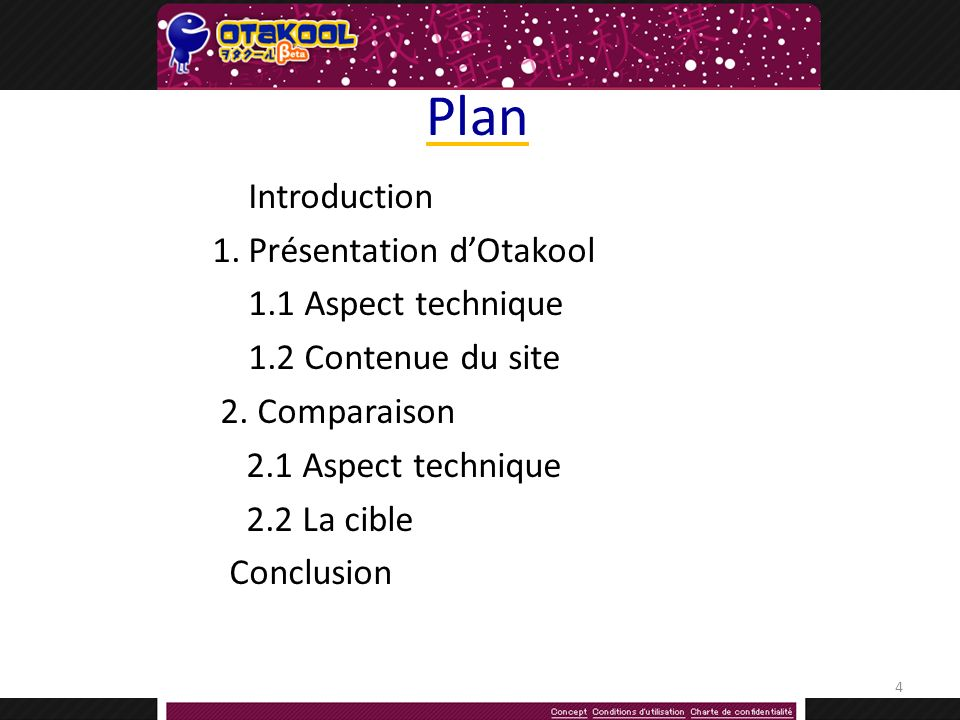 Plan Introduction 1.Présentation dOtakool 1.1 Aspect technique 1.2 Contenue du site 2.