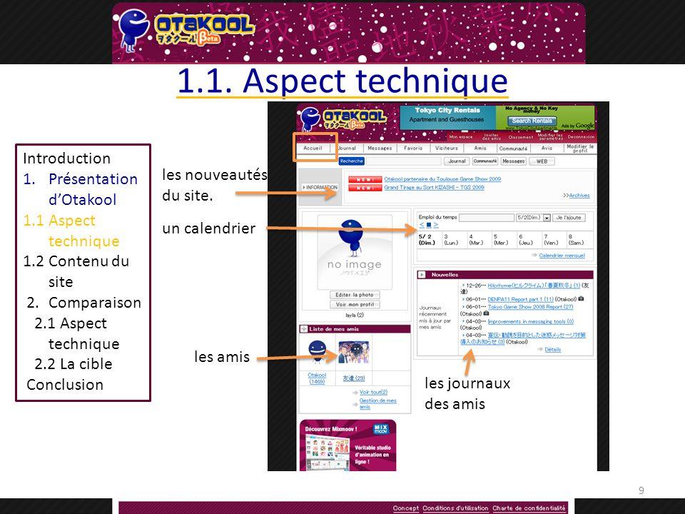 Introduction 1.Présentation dOtakool 1.1Aspect technique 1.2 Contenu du site 2.Comparaison 2.1 Aspect technique 2.2 La cible Conclusion 1.1.