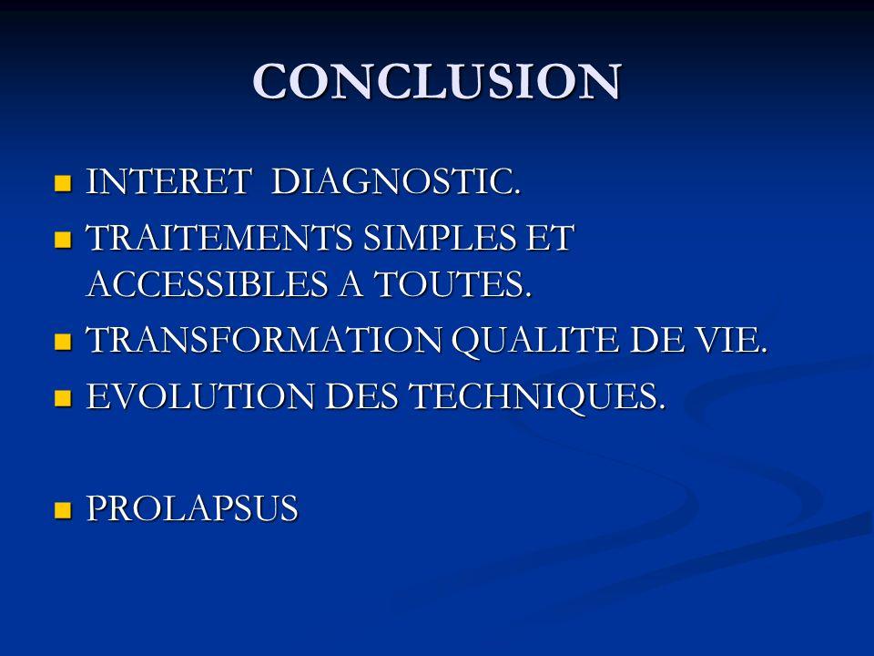 CONCLUSION INTERET DIAGNOSTIC. INTERET DIAGNOSTIC. TRAITEMENTS SIMPLES ET ACCESSIBLES A TOUTES. TRAITEMENTS SIMPLES ET ACCESSIBLES A TOUTES. TRANSFORM