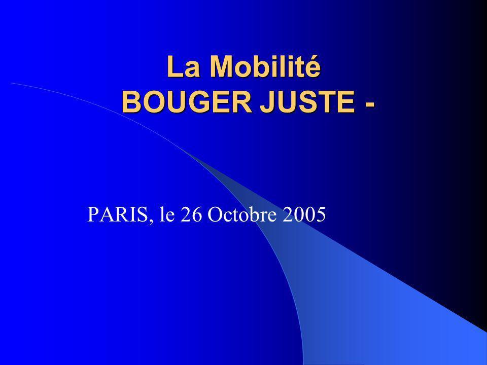 La Mobilité BOUGER JUSTE - PARIS, le 26 Octobre 2005