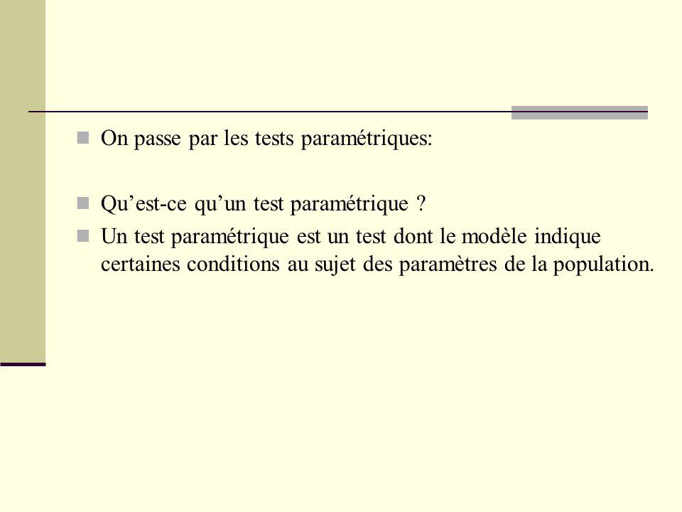 On passe par les tests paramétriques: Quest-ce quun test paramétrique ? Un test paramétrique est un test dont le modèle indique certaines conditions a