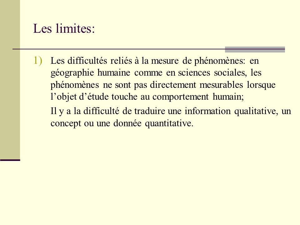 Les limites: 1) Les difficultés reliés à la mesure de phénomènes: en géographie humaine comme en sciences sociales, les phénomènes ne sont pas directe