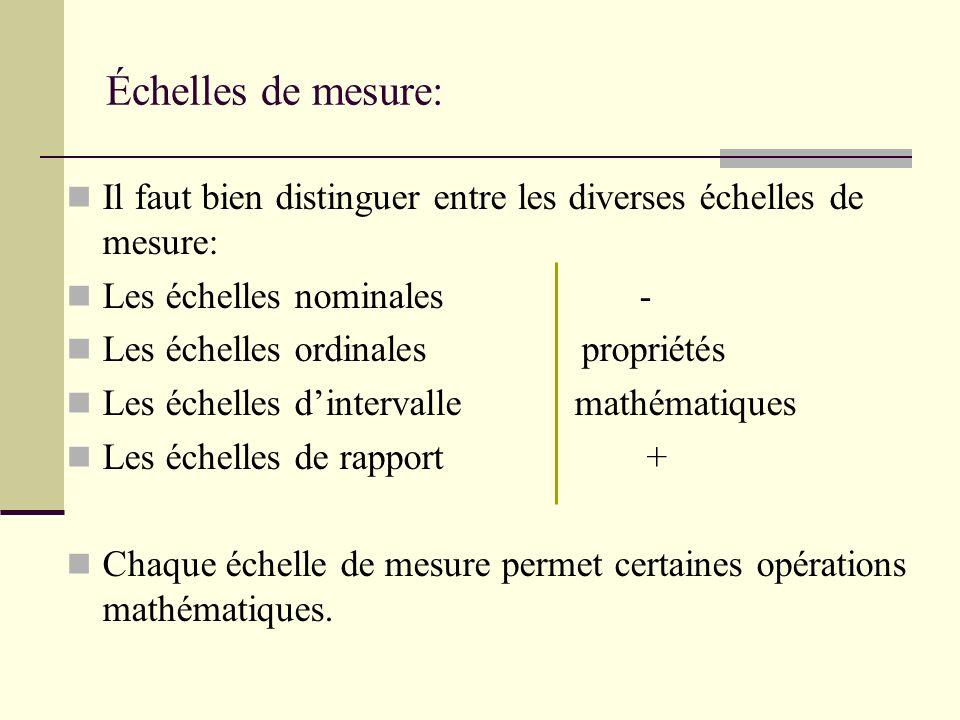 1) Échelle nominale: Niveau de mesure le plus bas; Les nombres ou symboles choisis servent uniquement à identifier des personnes ou des objets; La seule propriété formelle est léquivalence.