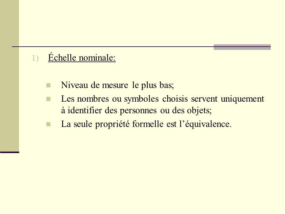 1) Échelle nominale: Niveau de mesure le plus bas; Les nombres ou symboles choisis servent uniquement à identifier des personnes ou des objets; La seu
