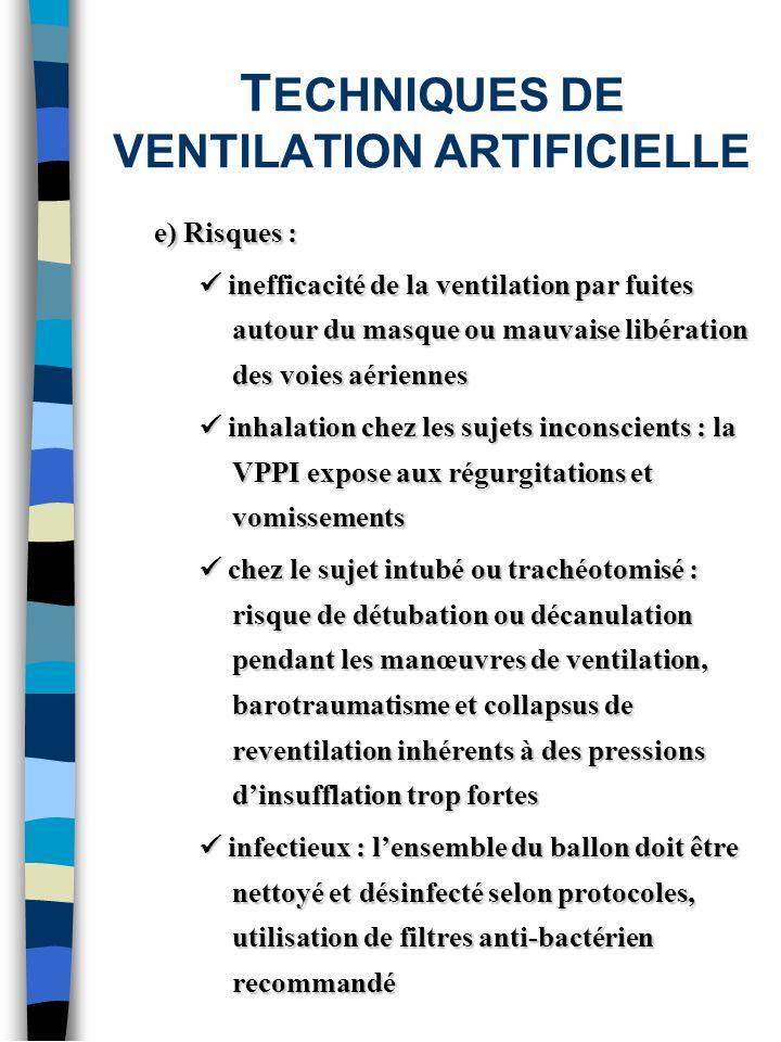 T ECHNIQUES DE VENTILATION ARTIFICIELLE e) Risques : inefficacité de la ventilation par fuites autour du masque ou mauvaise libération des voies aérie