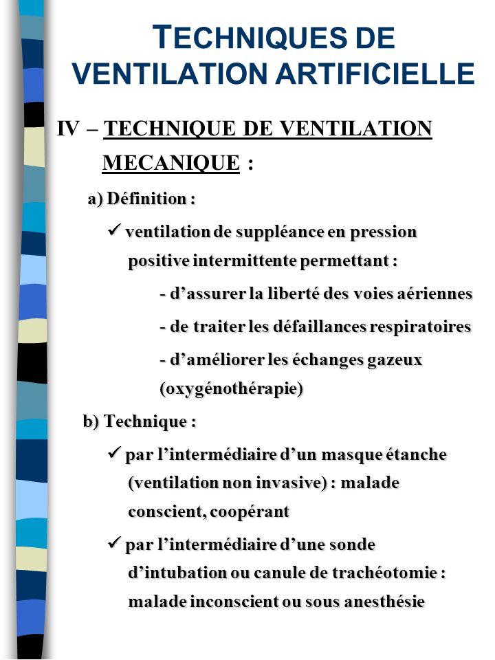 T ECHNIQUES DE VENTILATION ARTIFICIELLE IV – TECHNIQUE DE VENTILATION MECANIQUE : a) Définition : a) Définition : ventilation de suppléance en pressio