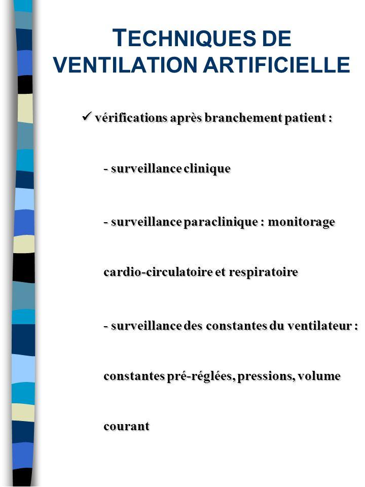 T ECHNIQUES DE VENTILATION ARTIFICIELLE vérifications après branchement patient : vérifications après branchement patient : - surveillance clinique -