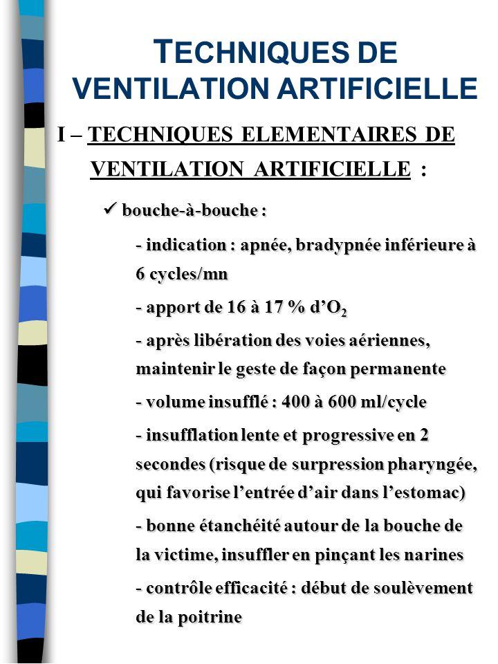 T ECHNIQUES DE VENTILATION ARTIFICIELLE I – TECHNIQUES ELEMENTAIRES DE VENTILATION ARTIFICIELLE : bouche-à-bouche : bouche-à-bouche : - indication : a