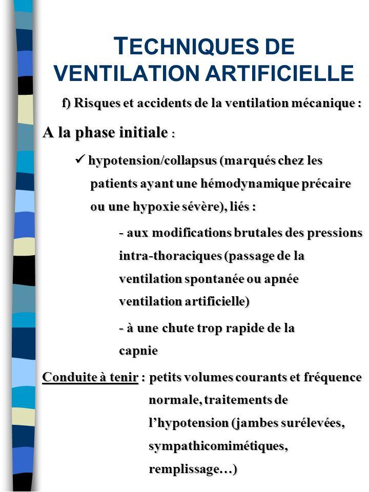 T ECHNIQUES DE VENTILATION ARTIFICIELLE f) Risques et accidents de la ventilation mécanique : A la phase initiale : hypotension/collapsus (marqués che