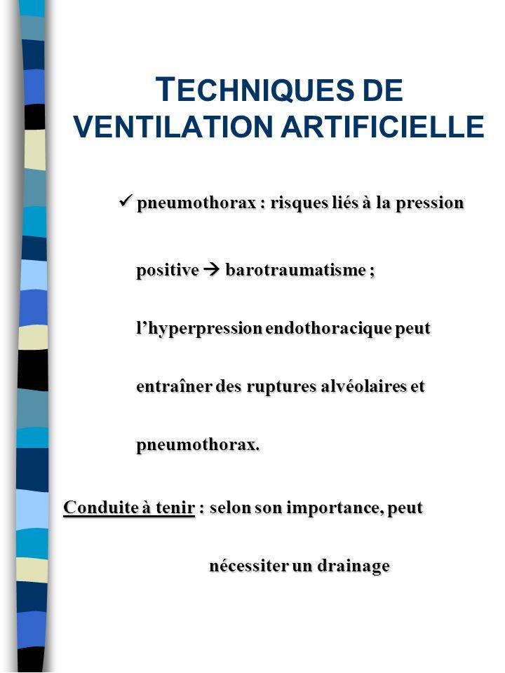 T ECHNIQUES DE VENTILATION ARTIFICIELLE pneumothorax : risques liés à la pression positive barotraumatisme ; lhyperpression endothoracique peut entraî