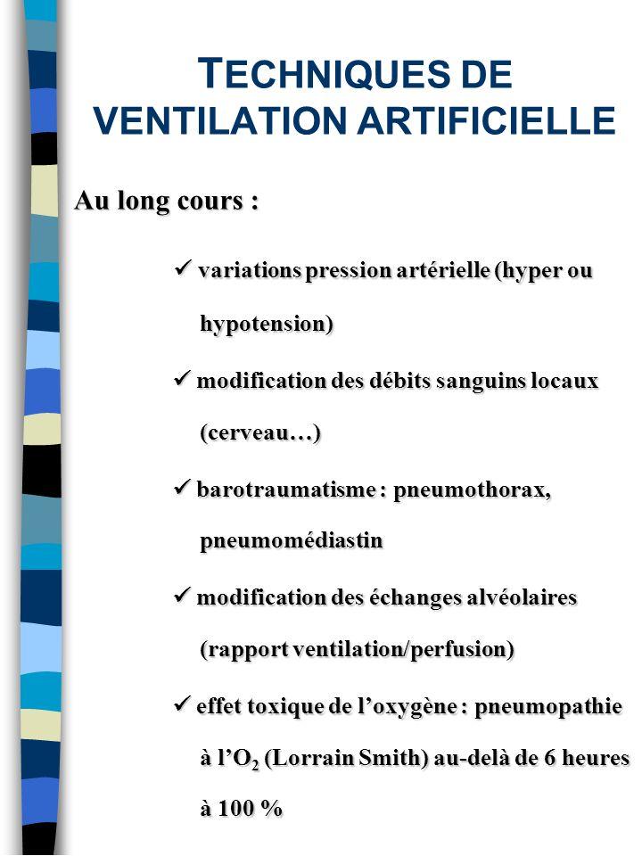 T ECHNIQUES DE VENTILATION ARTIFICIELLE Au long cours : variations pression artérielle (hyper ou hypotension) variations pression artérielle (hyper ou
