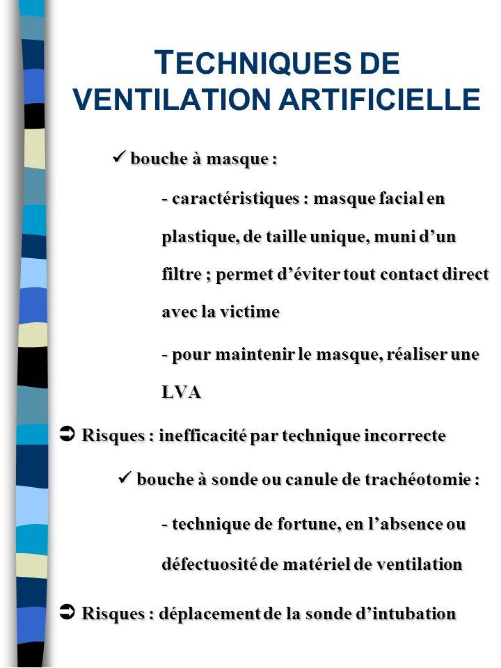 T ECHNIQUES DE VENTILATION ARTIFICIELLE bouche à masque : bouche à masque : - caractéristiques : masque facial en plastique, de taille unique, muni du