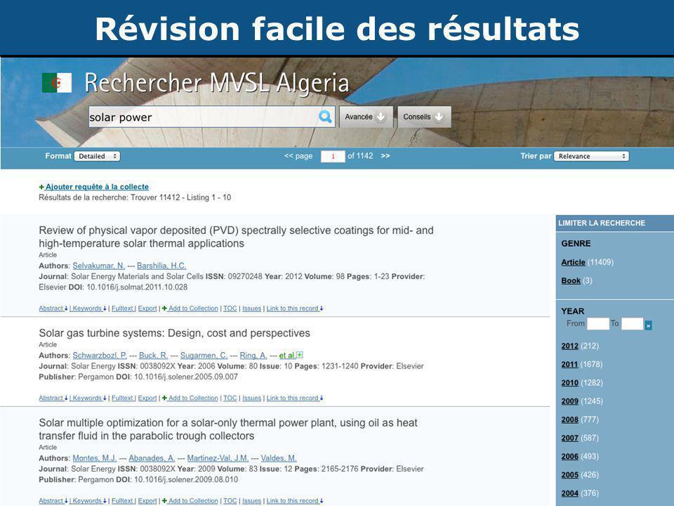 Publication d'articles de recherche ©2012 CRDF Global Révision facile des résultats