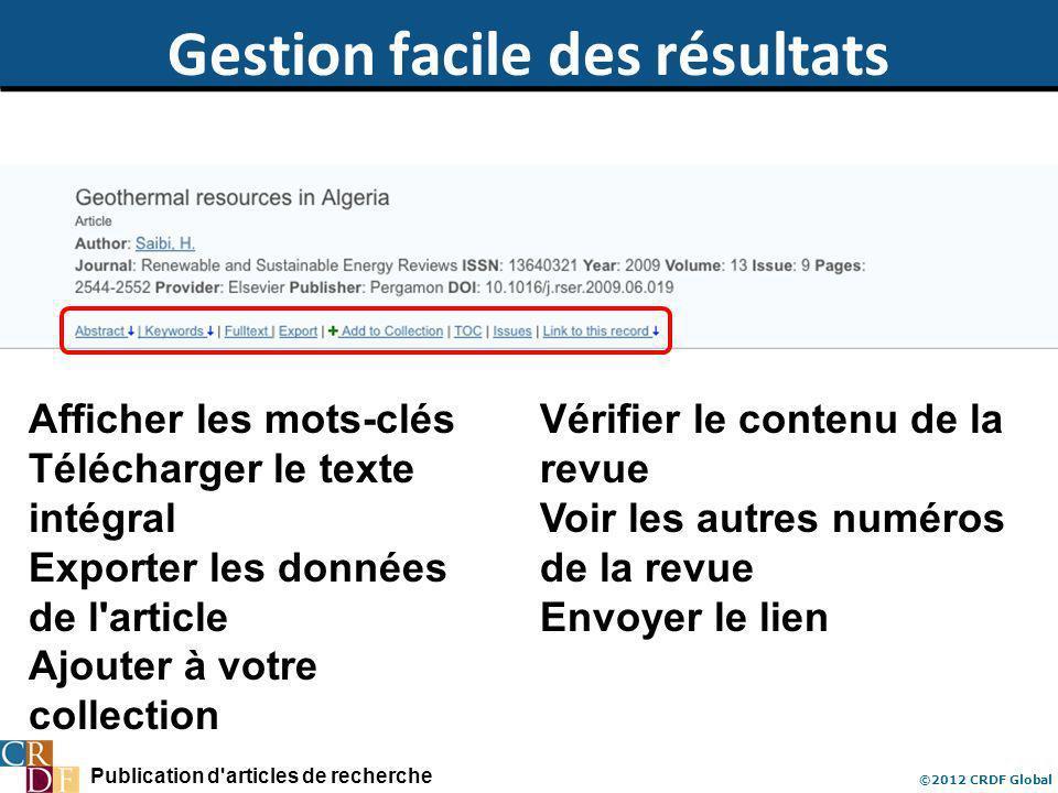 Publication d'articles de recherche ©2012 CRDF Global Gestion facile des résultats Afficher les mots-clés Télécharger le texte intégral Exporter les d