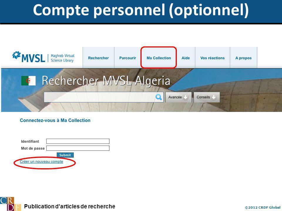 Publication d'articles de recherche ©2012 CRDF Global Compte personnel (optionnel)