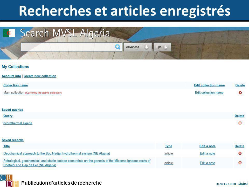 Publication d'articles de recherche ©2012 CRDF Global Recherches et articles enregistrés