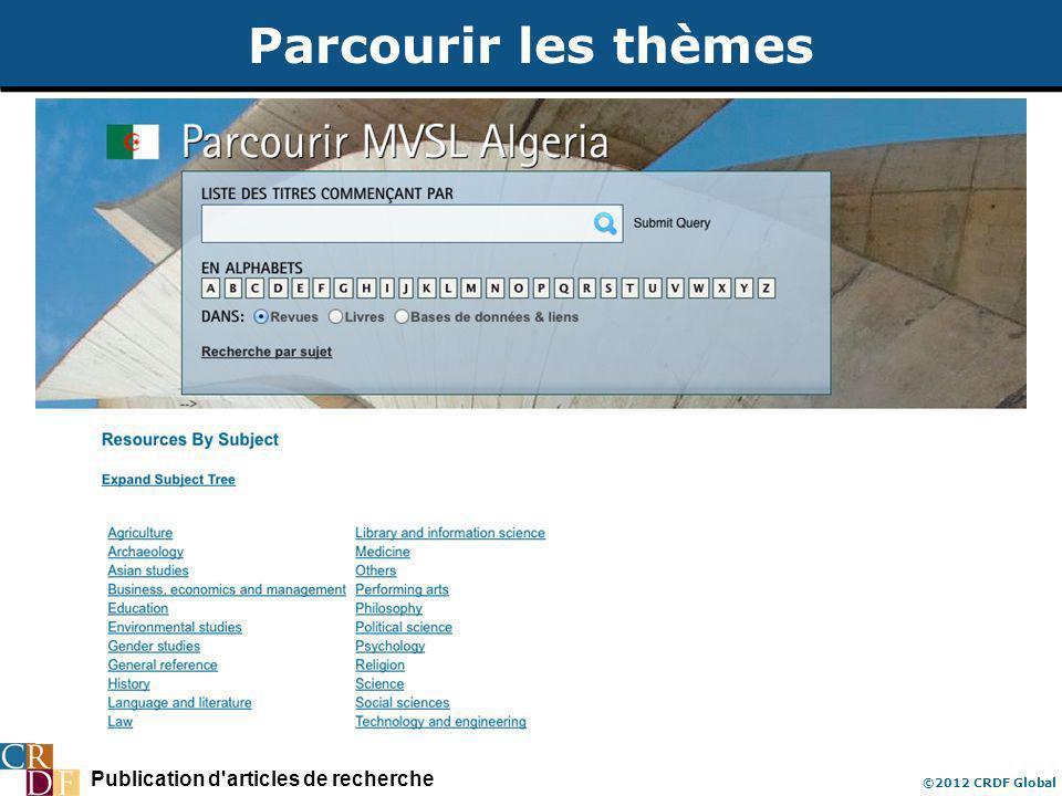 Publication d'articles de recherche ©2012 CRDF Global Parcourir les thèmes