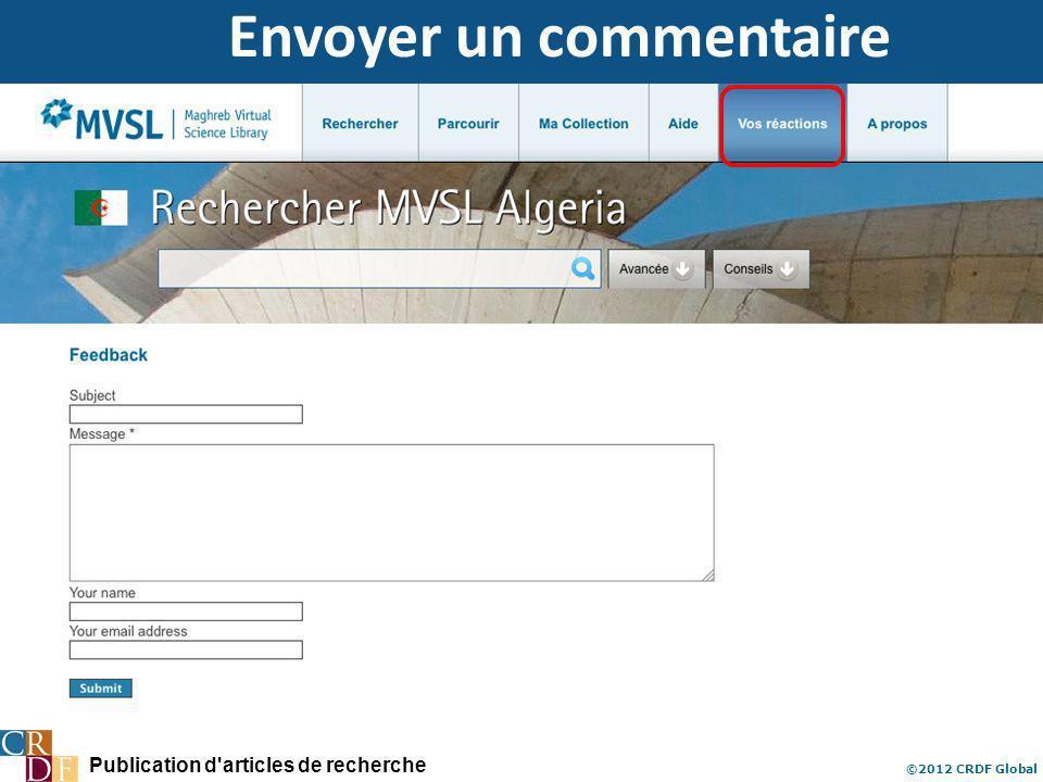 Publication d articles de recherche ©2012 CRDF Global Envoyer un commentaire