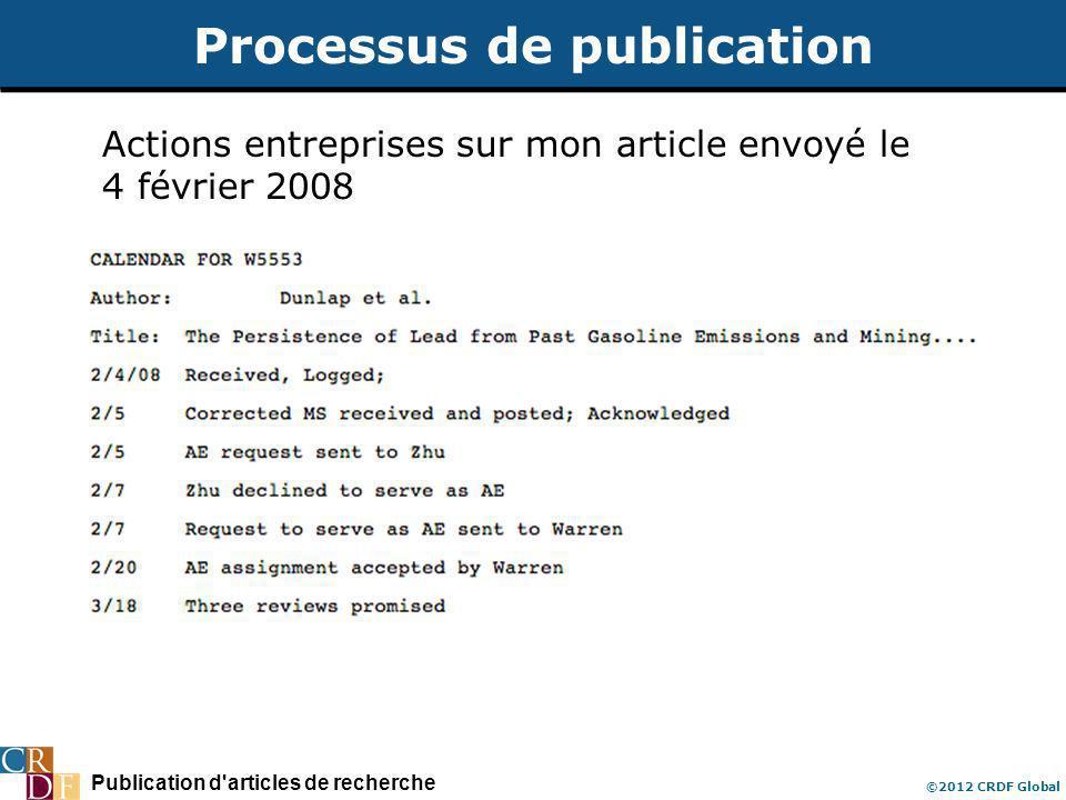 Publication d articles de recherche ©2012 CRDF Global Processus de publication Actions entreprises sur mon article envoyé le 4 février 2008