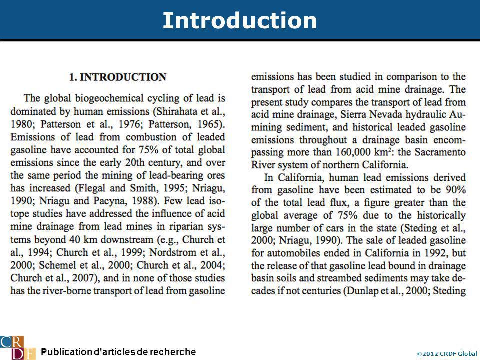 Publication d'articles de recherche ©2012 CRDF Global Introduction