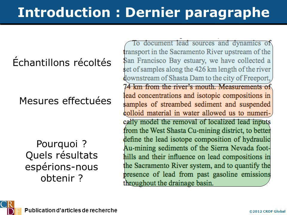 Publication d'articles de recherche ©2012 CRDF Global Introduction : Dernier paragraphe Échantillons récoltés Mesures effectuées Pourquoi ? Quels résu