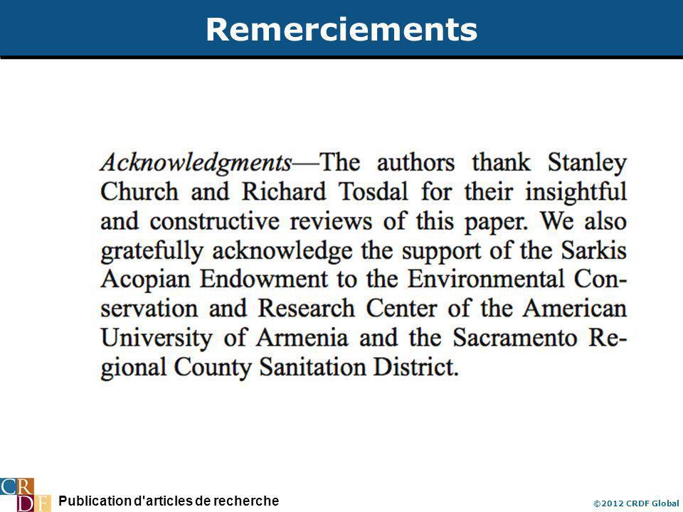 Publication d'articles de recherche ©2012 CRDF Global Remerciements