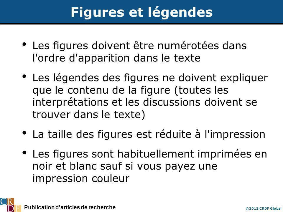 Publication d'articles de recherche ©2012 CRDF Global Figures et légendes Les figures doivent être numérotées dans l'ordre d'apparition dans le texte