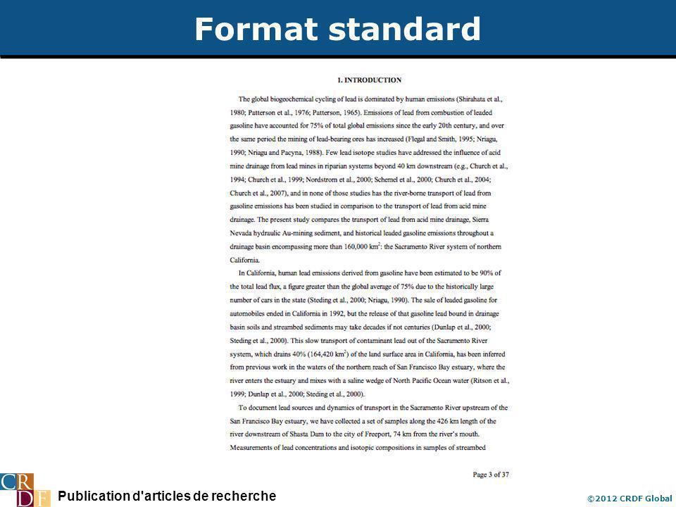 Publication d'articles de recherche ©2012 CRDF Global Format standard