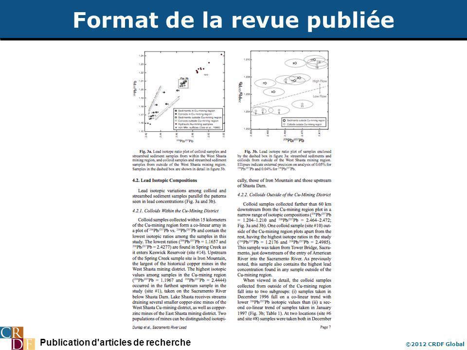 Publication d articles de recherche ©2012 CRDF Global Format de la revue publiée
