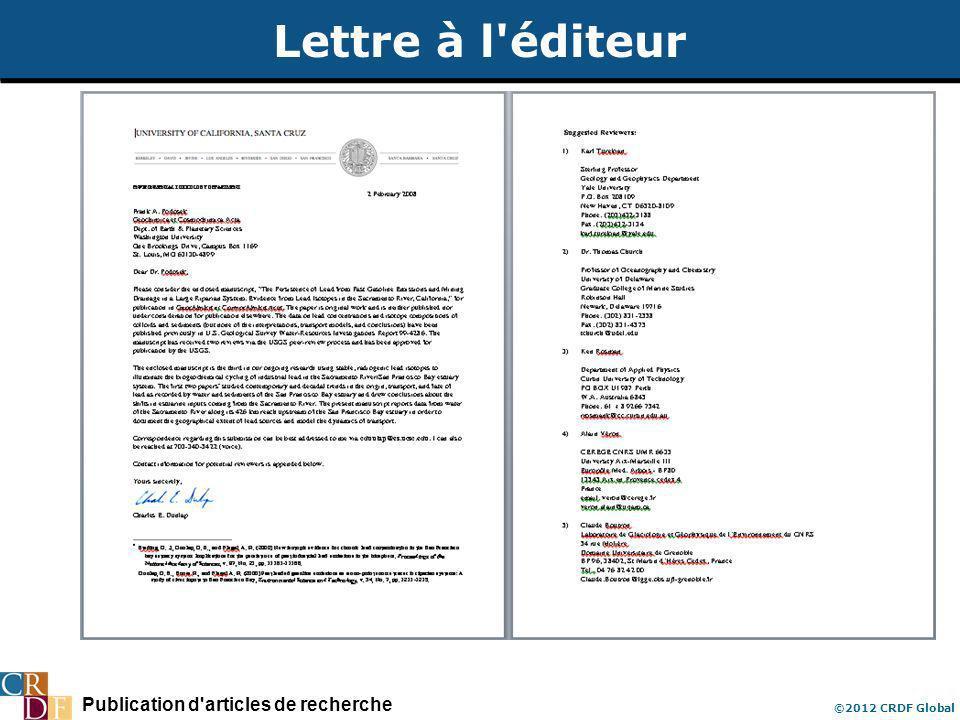 Publication d'articles de recherche ©2012 CRDF Global Lettre à l'éditeur