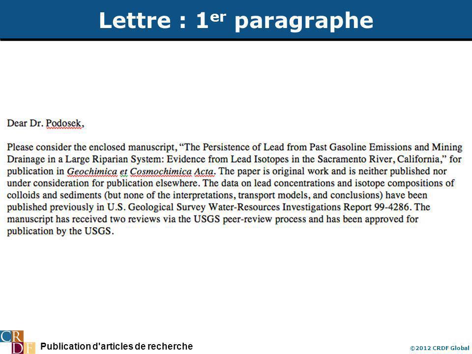 Publication d articles de recherche ©2012 CRDF Global Lettre : 1 er paragraphe