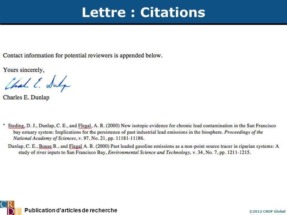 Publication d'articles de recherche ©2012 CRDF Global Lettre : Citations