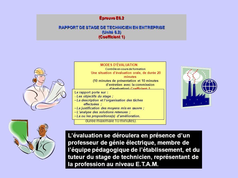 Épreuve E6.2 RAPPORT DE STAGE DE TECHNICIEN EN ENTREPRISE (Unité 6.2) (Coefficient 1) La sous épreuve E6.2 permet de vérifier laptitude du candidat à