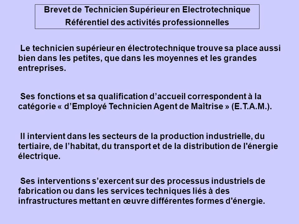 Brevet de Technicien Supérieur en Electrotechnique Référentiel des activités professionnelles Le technicien supérieur en électrotechnique trouve sa place aussi bien dans les petites, que dans les moyennes et les grandes entreprises.
