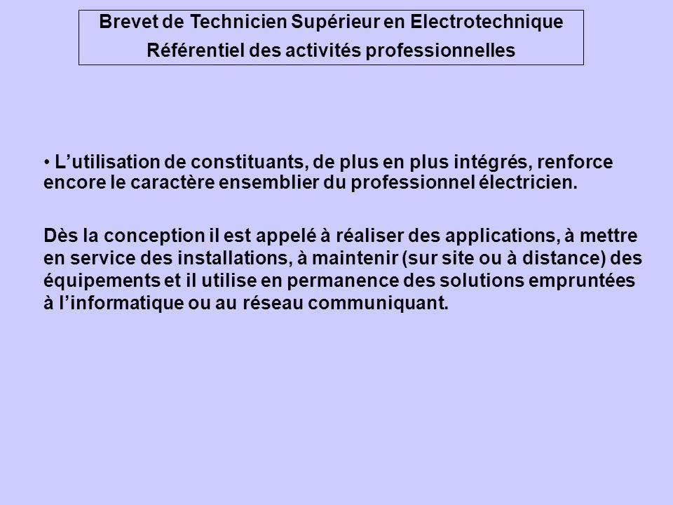 Brevet de Technicien Supérieur en Electrotechnique Référentiel des activités professionnelles Lénergie électrique est omniprésente dans les applicatio
